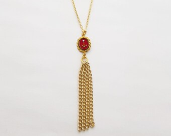 Red & Gold Anchor Tassel Necklace