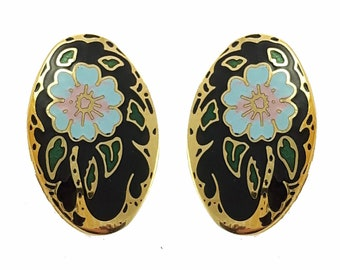 Vintage Cloisonne Flower Earrings in Black