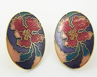 Vintage Cloisonne Hibiscus Earrings in Purple