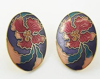 Vintage Cloisonne Hibiscus Earrings in Purple