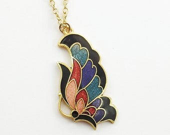 Art Nouveau Butterfly Necklace in Black