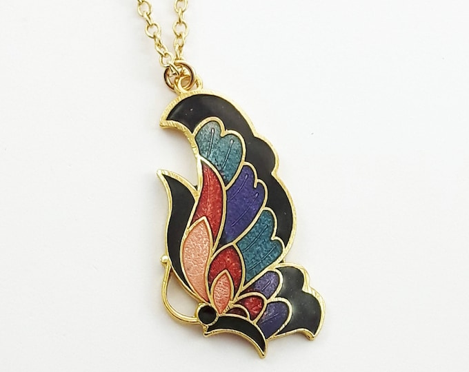 Featured listing image: Art Nouveau Butterfly Necklace in Black