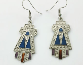 Silver Geometric Art Deco Style Earrings
