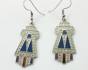Silver Geometric Art Deco Style Earrings