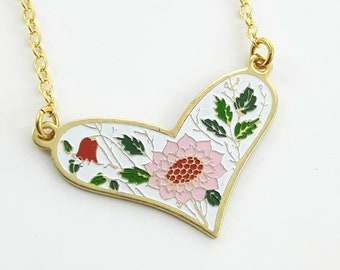 White Enamel Heart Necklace with Pink Sunflower