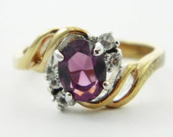 Vintage Faux Amethyst Oval CZ Accent Ring