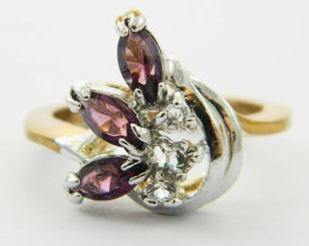 Vintage Yellow & White Gold Plated Faux Amethyst Triple Marquise Ring
