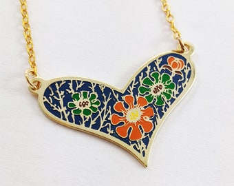 Blue Enamel Floral Print Heart Necklace