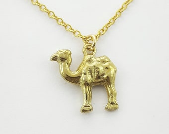 Tiny Gold Camel Charm Necklace