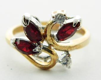 Vintage Goldplated Faux Ruby Marquise Ring