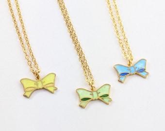 Vintage Enameled Bow Charm Necklaces - Choose Color