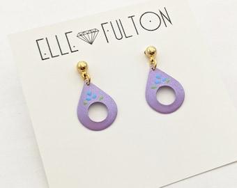 Vintage Folk Teardrop Earrings in Lilac