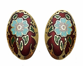 Vintage Cloisonne Flower Earrings in Red
