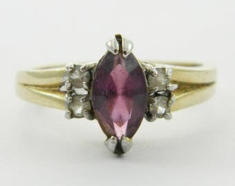 Vintage Faux Amethyst Marquise Ring