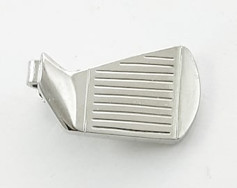 Silver Golf Club Tie Clip