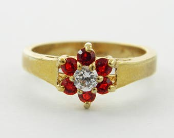 Vintage Faux Ruby Flower Ring