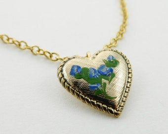 Vintage Blue Floral Heart Necklace