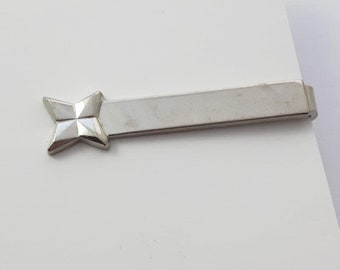 Vintage Silver Ripple Tie Clip