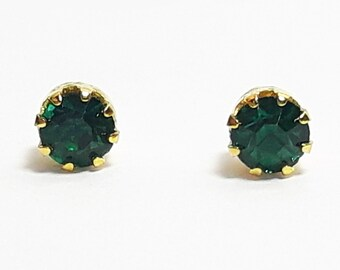 Petite Gold Plated Green Crystal Studs