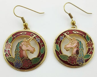 Vintage Cloisonne Unicorn Earrings in Burgundy