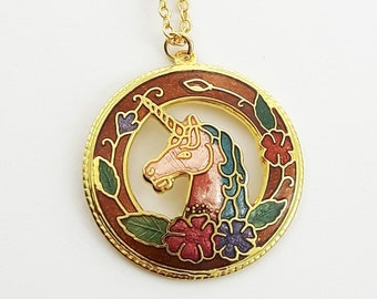 Cloisonne Unicorn Necklace in Bronze