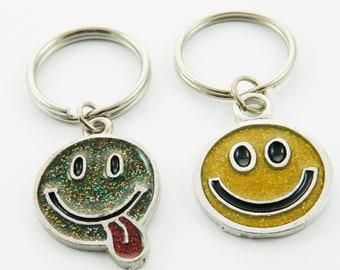 Glitter Emoticon Keychain