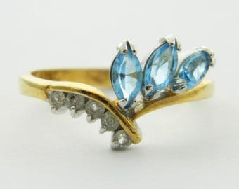 Vintage Faux Blue Topaz Triple Marquise Ring