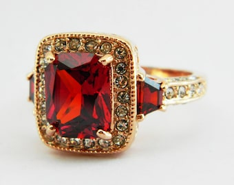 Retro Rose Gold Plated Ruby Cocktail Ring