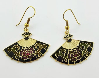 Vintage Cloisonne Fan Earrings in Black