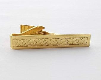 Vintage Gold Cross Weave Tie Clip