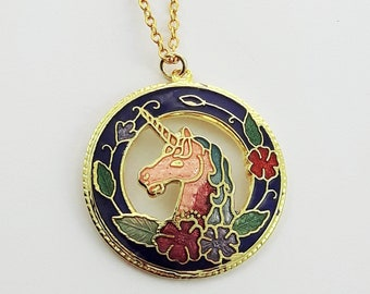 Cloisonne Unicorn Necklace in Blue