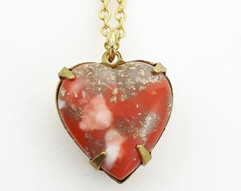 Red Coral Matrix Heart Necklace