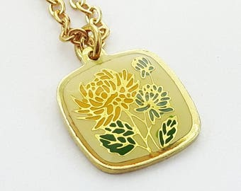 60 Yellow Floral Print Charm Necklace