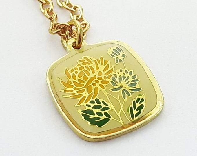 Featured listing image: 60 Yellow Floral Print Charm Necklace