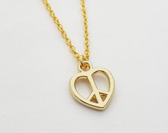 Heart Peace Sign Charm Necklace