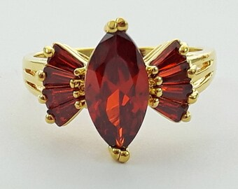 Gold Filled Faux Garnet Cocktail Ring