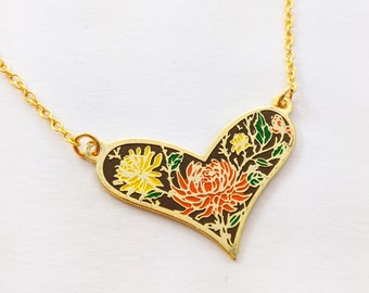 Autumn Dahlia Enamel Heart Necklace - Brown, Orange, Yellow