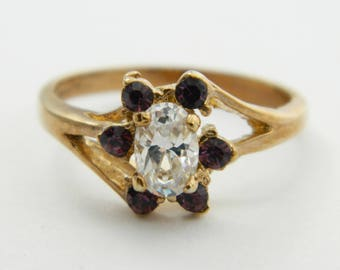 Vintage Gold Plated Faux Amethyst Flower Ring