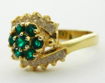 14k Gold Electroplate Faux Emerald Flower Cluster Ring