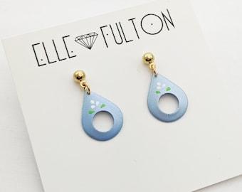 Vintage Folk Teardrop Earrings in Blue with White Floral