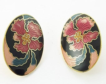 Vintage Cloisonne Hibiscus Earrings in Black