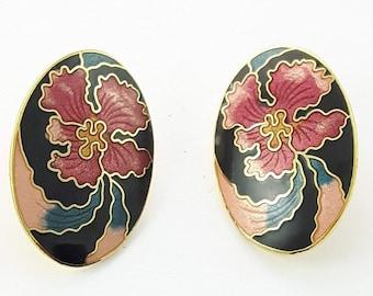 Vintage Cloisonne Hibiscus Earrings in Black