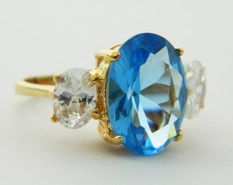 Retro Blue Topaz Cocktail Ring