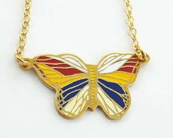 Vintage Enamel Butterfly Necklace - Red, White, Blue and Yellow