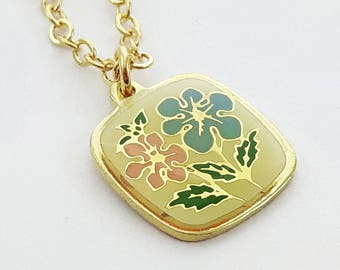 Yellow and Gold Flower Charm Necklace