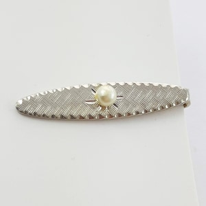Black Inlay Silver Tone Vintage Deco Tie Clip Hexagon Mother of Pearl