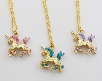 Painted Gold Unicorn Necklace