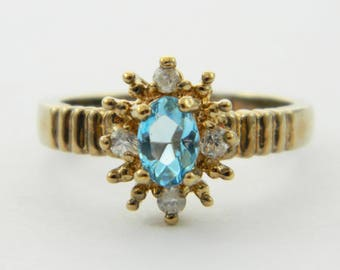 Vintage Faux Swiss Blue Topaz Snowflake Ring