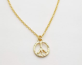 Tiny Gold Tone Peace Sign Charm Necklace