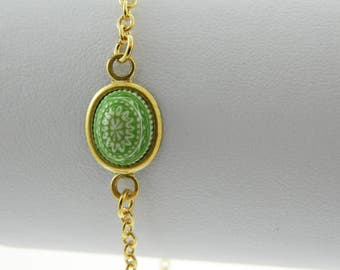 Mandala Bracelet in Green & White